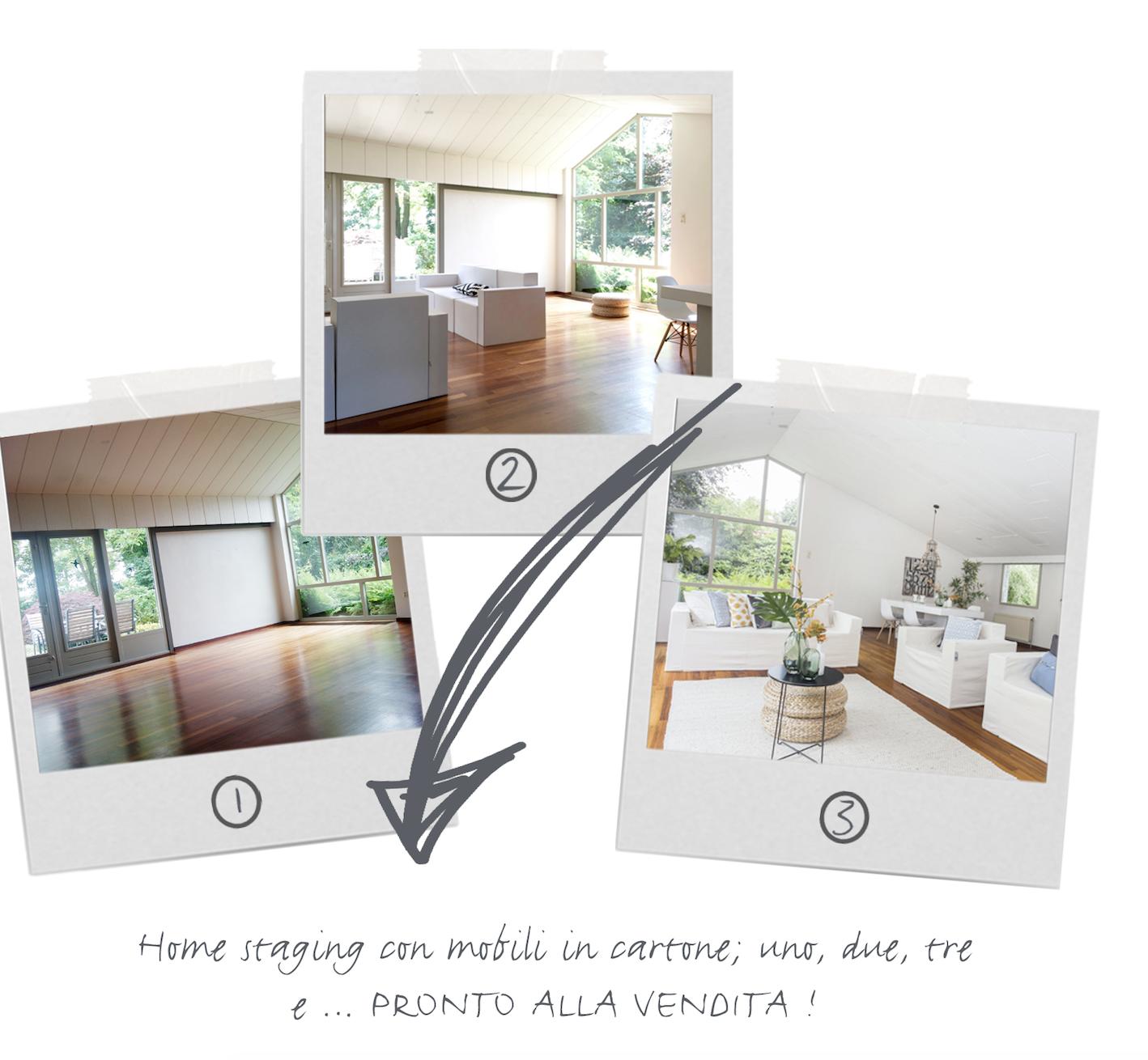 HOME STAGING LOVERS: Home staging con mobili in cartone CUBIQZ; uno, due, tre  e … PRONTO ALLA VENDITA !